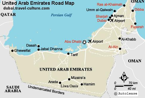 Uae Road Map showing different cities and town of UAE and other ...